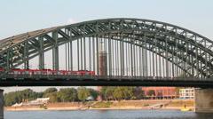 German train on Cologne railway bridge Stock Footage