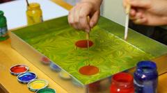 Ebru art - painting on water Stock Footage