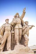 monument in front of mao's mausoleum on tiananmen square, beijing, china - stock photo