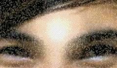 Mosaic pixel face. Stock Photos