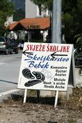 seafood market by a road, mali ston, croatia - stock photo