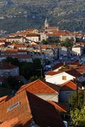 korcula town at korcula island, croatia - stock photo