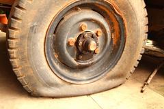 Car tire leak. Stock Photos