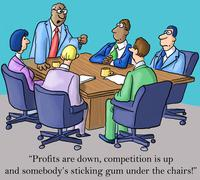 the boss is made about profits and gum - stock illustration
