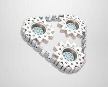 Three cogwheels chained together Stock Illustration