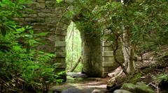 Historic stone archway bridge water. Stock Footage