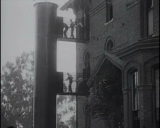 1913 - School For Deaf - New Fire Escape System 02 Stock Footage