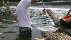 Man catch black crappie on the river Stock Footage