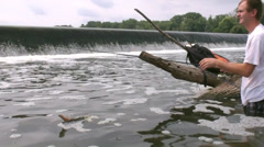 Man catch black crappie on the river 2 Stock Footage