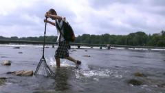 Man with landing net 2 Stock Footage