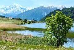 summer mountain landscape with lake (italy) - stock photo