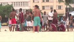 0153-Rio-Soccer-Futbol-Beach-Copacabana-Local-People-World-Cup-Lifestyle Stock Footage