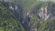 Stock Video Footage of Mountain cliffs with conifer forest