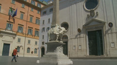 Elephant and Obelisk in Rome 2 (slomo dolly) Stock Footage