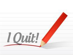 i quit written on a white paper - stock illustration