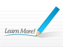Learn more written on a white paper illustration Stock Illustration