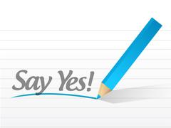 Say yes written on a white paper Stock Illustration