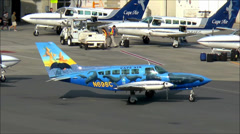 Cape Airways whales plane taxies Stock Footage