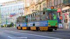 Trams moving poland 3 Stock Footage