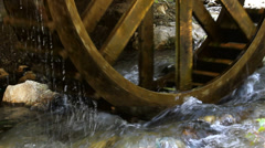 Water mill run and pure water Stock Footage
