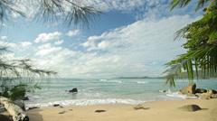 uninhabited beautiful tropical beach with big stones - stock footage