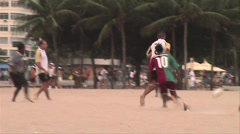 0132-Rio-Soccer-Futbol-Beach-Copacabana-Local-People-World-Cup-Lifestyle Stock Footage