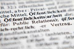 Öffentlichkeitsarbeit - Public relations Stock Photos