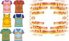 ringer tshirt set vector art - stock illustration