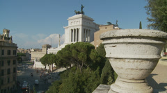 Vittorio Emanuele II monument filmed from balcony (slomo dolly) Stock Footage