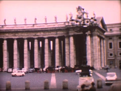 8MM St. Peter's Square and St. Peter's Basilica - 1964 - stock footage