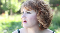 Thinking woman looking Stock Footage