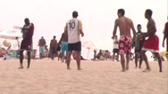 Stock Video Footage of 0126-Rio-Soccer-Futbol-Goal-Beach-Copacabana-Local-People-World-Cup-Lifestyle
