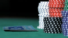 Poker. Bad combination of cards. Stack of chips. Stock Footage