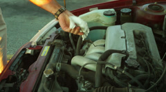 Checking oil car Stock Footage