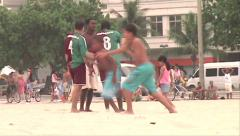 0155-Rio-Soccer-Futbol-Beach-Copacabana-Local-People-World-Cup-Lifestyle Stock Footage