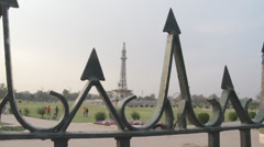 Pillar shot of Pakistan's Minar-e-Pakistan - stock footage