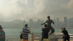 Statue of Bruce Lee Stock Footage