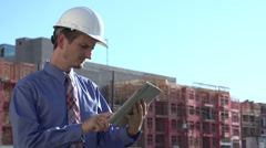 Construction engineer on tablet Stock Footage
