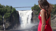 Chute Montmorency falls quebec and woman tourist Stock Footage