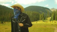 outlaw cattle wrustling cowboy - stock footage