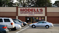 Modells Sporting Goods storefront entrance - stock footage