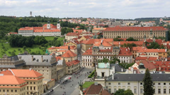 Palace square of prague castlethe (view from tower of saint vitus cathedral). Stock Footage