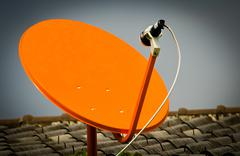 Satellite signal wave receiver dish for television - stock photo