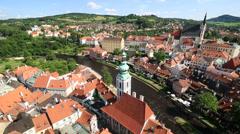 Historical center of cesky krumlov Stock Footage