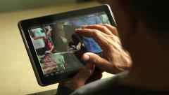 Tablet computer in the hands of an adult male Stock Footage