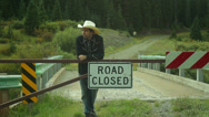Stock Video Footage of rancher western west road closed cowboy