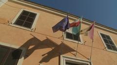EU, Italy & Rome flags 3 (slomo) Stock Footage