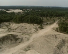 Aerial drift sand area Hulshorster Zand in The Netherlands Stock Footage