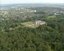 Aerial of Het Loo Palace, Palace Gardens and park Stock Footage