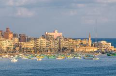 view of alexandria harbor, egypt - stock photo